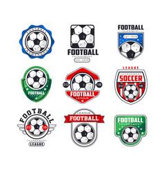soccer league logo set collection of football vector image