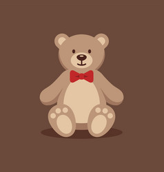 teddy bear with red bow tie vector image vector image