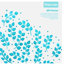 Turquoise watercolor floral pattern with leaves vector image vector image