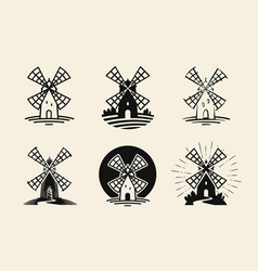 windmill mill logo or label flour bakery icons vector image vector image