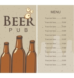 beer menu and price vector image vector image