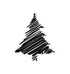 black drawing pine tree christmas decoration vector image
