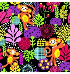 Cute monkey seamless texture with flowers vector image vector image