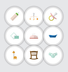 flat icon infant set of nipple infant cot nappy vector image vector image