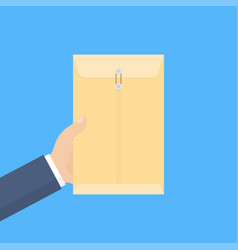 hand holds yellow envelope vector image vector image