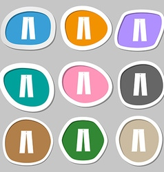 Pants icon symbols Multicolored paper stickers vector image