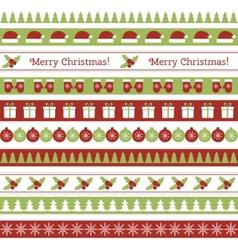 Christmas seamless borders vector image
