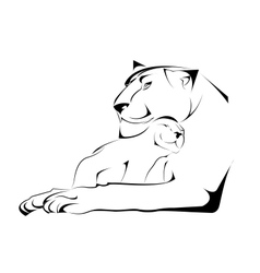Silhouette of Lioness with her Baby Animal in vector image vector image