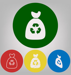 trash bag icon 4 white styles of icon at vector image vector image