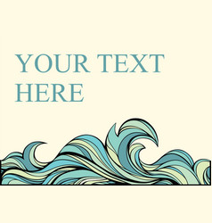 vintage abstract card with blue stylized wave vector image vector image