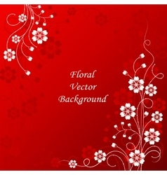 Beautiful floral pattern on red background vector image