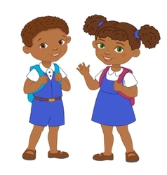Boy and girl with backpacks pupil stay cartoon vector image