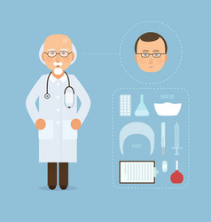 doctor and medicine tools set modern medical vector image