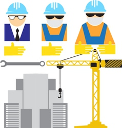 Engineer and workers building scene vector image vector image