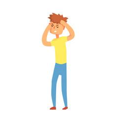guy having migraine headache adult person feeling vector image