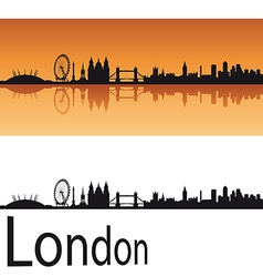 London skyline in orange background vector image