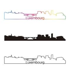 Luxembourg skyline linear style with rainbow vector image