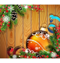 Orange christmas ball on wooden background vector