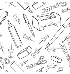 Pattern of creative hand drawn office workspace vector image