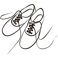 white sneakers with the laces are loose after a wa vector image vector image