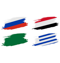 2018 soccer world championship set flags of group vector