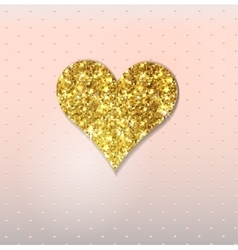 Abstract background with gold glitter heart vector image