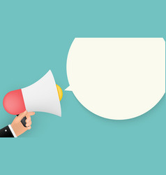abstract background with megaphone in human hand vector image