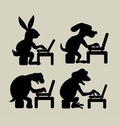 Animal Activities with Laptop vector
