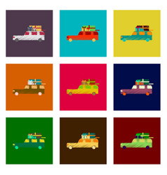 assembly of flat shading style icon car gifts vector image