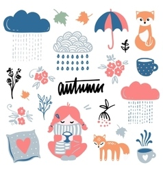 Autumn isolated elements collection vector