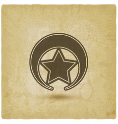 badge with star on vintage background vector image