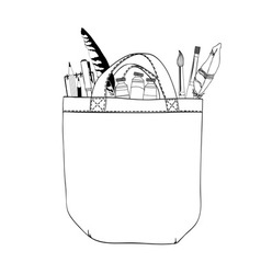 Bag and brushes vector image