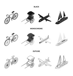 Bicycle rickshaw plane yachttransport set vector