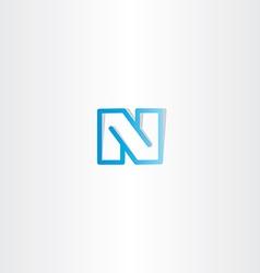 blue letter n line logo vector image