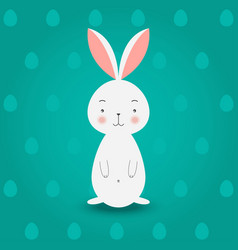 bunny on turquoise eggs background vector image