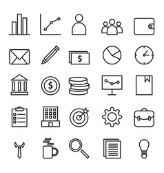 business and finance web icon set with outline vector image