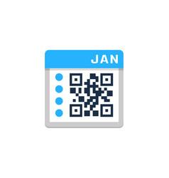 calendar barcode logo icon design vector image