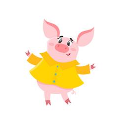 Cartoon happy pig in yellow raincoat isolated on vector