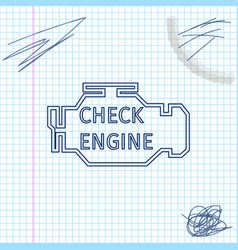 check engine line sketch icon isolated on white vector image