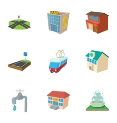 City buildings icons set cartoon style vector