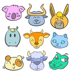 Collection animal head cute doodle style vector