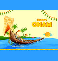 Colorful background for happy onam vector