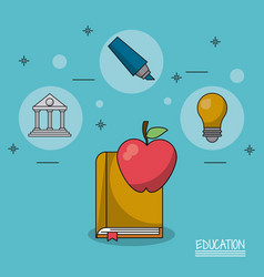 Colorful poster education with book and apple vector