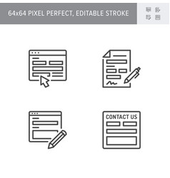 contact us line icons vector image