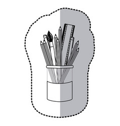 Contour coloured pencils in jar icon vector