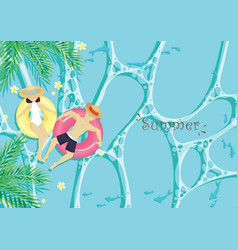 couple on ring float in water on summer vector image