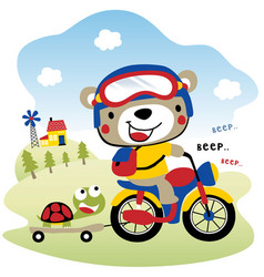 Cute bear riding motorcycle kids t shirt design vector