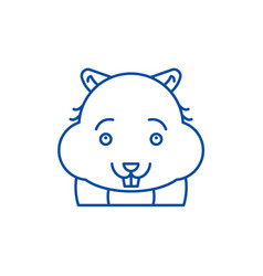cute hamster line icon concept cute hamster flat vector image