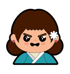 Cute japanese girl cartoon vector