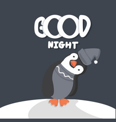 Cute penguin good night vector